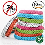 Mosquito Repellent Leather Braided Bracelet - 100% Natural Insect Repeller 10 pack, DEET Free, No Spray Pest Control Safe For Babies, Kids, Adults. Perfect for Outdoor and Indoor. Multicolor