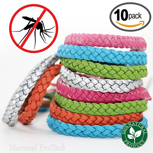 Mosquito Repellent Leather Braided Bracelet - 100% Natural Insect Repeller 10 pack, DEET Free, No Spray Pest Control Safe For Babies, Kids, Adults. Perfect for Outdoor and Indoor. Multicolor (Bug Cart Screen Golf)