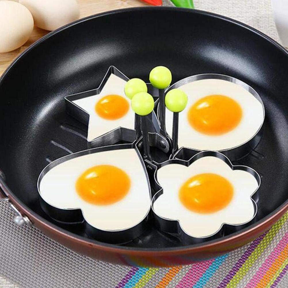 4-teiliges Omelett-Form-Set aus Edelstahl Ring kreatives Spiegelei-Formen lustiges Fr/ühst/ückspfannkuchenform f/ür Zuhause K/üche und Kochen