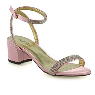 19a6a0d99 ESSEX GLAM Womens Ankle Strap Block Low Heel Sandals Ladies Buckle Diamante  Bridal Shoes Pink