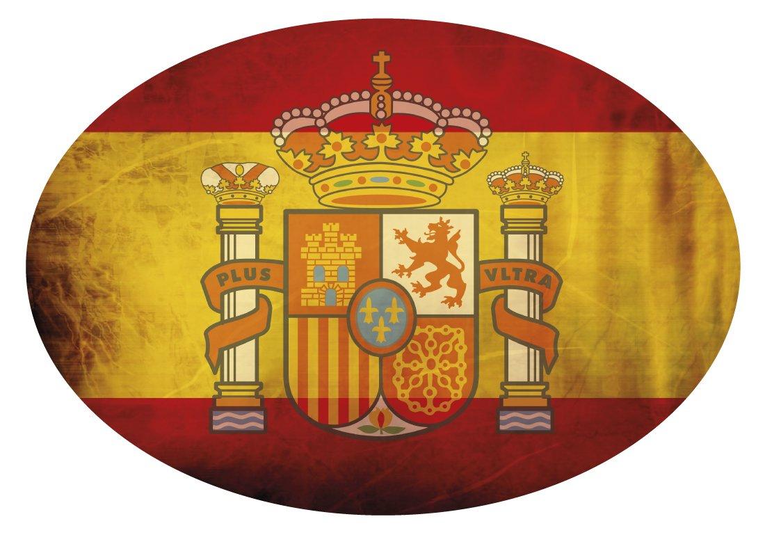 Artimagen Pegatina Bandera Oval Espa/ña con Quijote 80x60 mm.