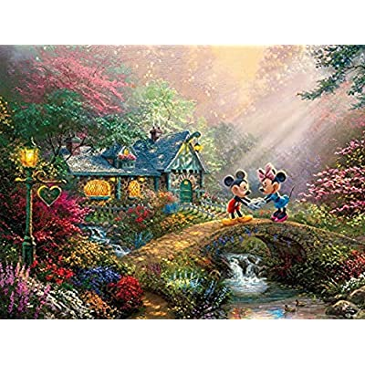 Ceaco Thomas Kinkade The Disney Collection Mickey and Minnie Sweetheart Bridge Jigsaw Puzzle, 750 Pieces: Toys & Games