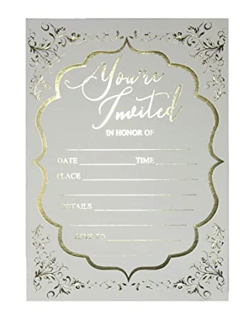Fill In Invitations Wedding Gold Foil