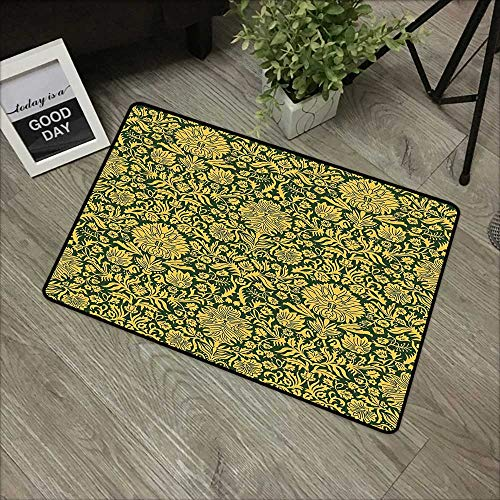 Clear printed pattern door mat W31 x L47 INCH Floral,Victorian Baroque Flower Motifs with Swirl Petals and Branches Print,Hunter Green Earth Yellow Our bottom is non-slip and will not let the baby sli