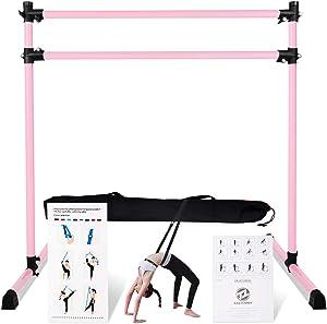 Lovinouse Upgraded Ballet Barre, 4 FT Adjustable Freestanding Ballet Bar with Dance Stretch Band and Carry Bag, Anti-Slip Base, Portable Ballet Barre for Home