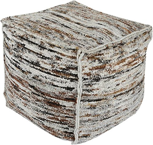 Surya BZPF-001 60-Percent Chocho and 40-Percent Cotton Pouf, 18-Inch by 18-Inch by 18-Inch, Gray/Mocha/Tan/Charcoal