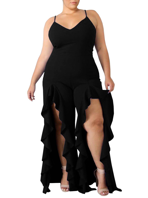 Rotita Women Spaghetti Strap Sexy V Neck Plus Size Jumpsuits Wide Leg Summer Long Pants Rompers