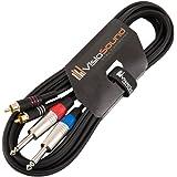 "Jack Mono 6.35mm 1/4"" Mono Jack a Cable Fono RCA x 2 Doble / Cable señal de audio 3m"