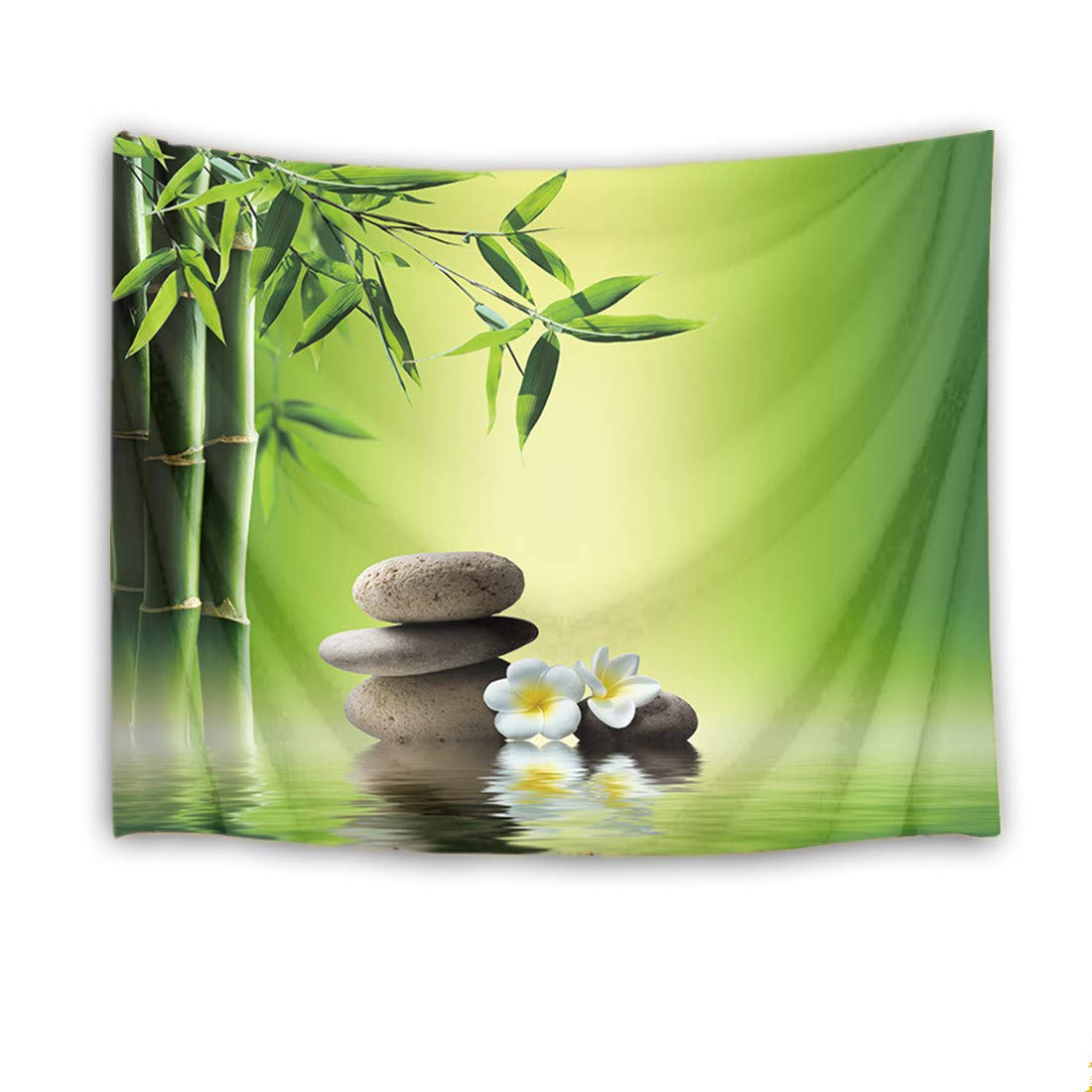 LB Zen Spa Tapestry Wall Hanging,Bamboo Stones and Floral in Water Tapestries,Japanese Garden Scenery Wall Decor for Dorm Bedroom Living Room,60 W X 40 H inch(Green)