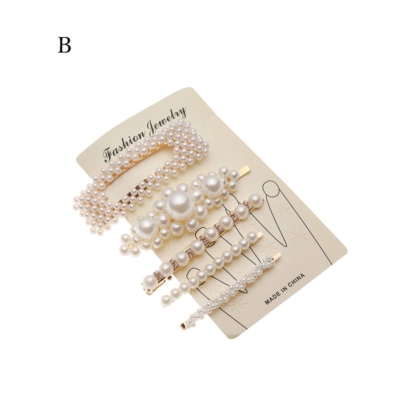 1 Set Pearl Flower Hair Clip Metal Hairpins Barrettes Women Headdress Jewelry