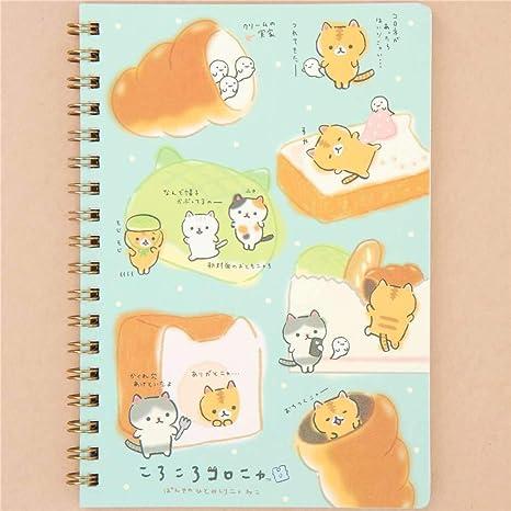 Libreta de anillas turquesa con gato Corocoro Coronya de San-X Japón