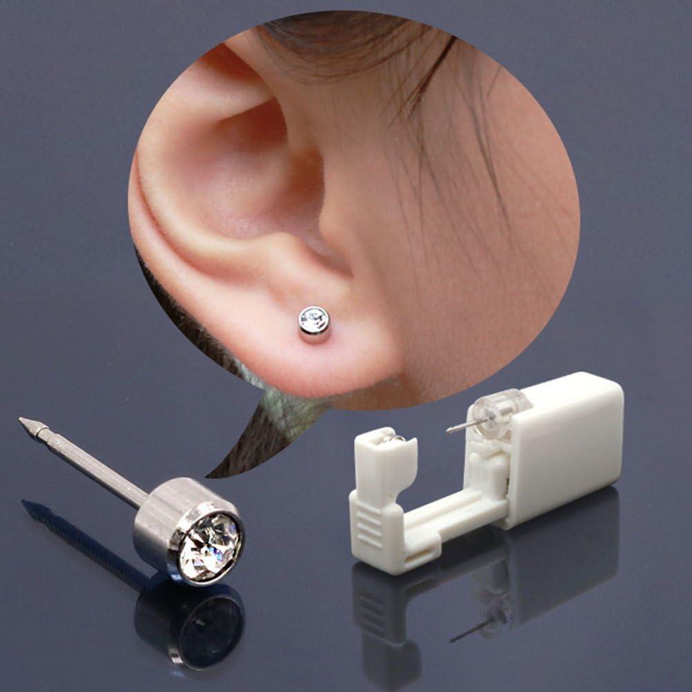 Kit de Piercing desechable para la oreja, Ainstsk de seguridad portátil de 3 mm de tamaño estéril para la nariz, labio, pistola de piercing para oreja, herramienta de perforación con tuercas: Amazon.es: