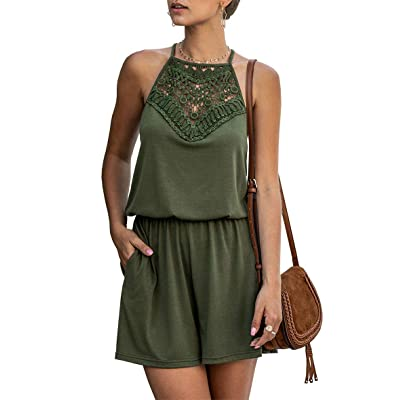 KIRUNDO Summer Women's Lace Patchwork Romper Halter Neck Short Solid Sleeveless High Waist Jumpsuit with Pockets: Clothing