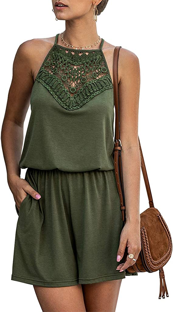 KIRUNDO Summer Women's Lace Patchwork Romper Halter Neck Short Solid Sleeveless High Waist Jumpsuit with Pockets
