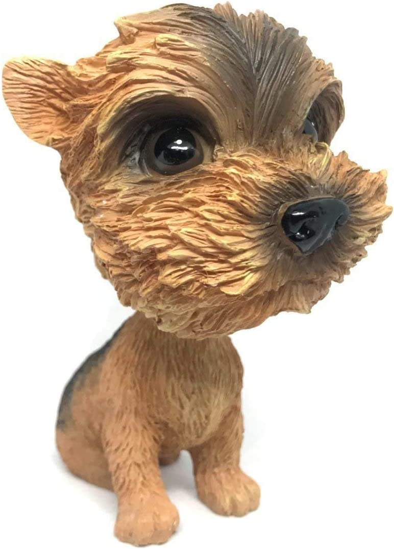 OZUKO Pug Bobblehead Mini Puppy Dog Figurine Car Dashboard Decoration Nodding Shaking Head Toys for Kids Room (Yorkshire Terrier)