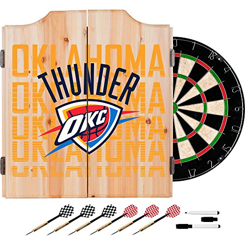 Trademark Gameroom NBA7010-OCT3 NBA Dart Cabinet Set with Darts & Board - City - Oklahoma City Thunder by Trademark Global