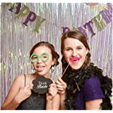 ShiDianYi Tinsel Foil Fringe-Backdrop-6FTX8FT-Transparent White Metallic Door Window Curtain Party Decoration(Pack of 2)