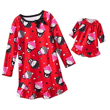 Amazon.com  Jumping Beans Girls Red Penguin Nightgown   Doll Night ... 7982753b2