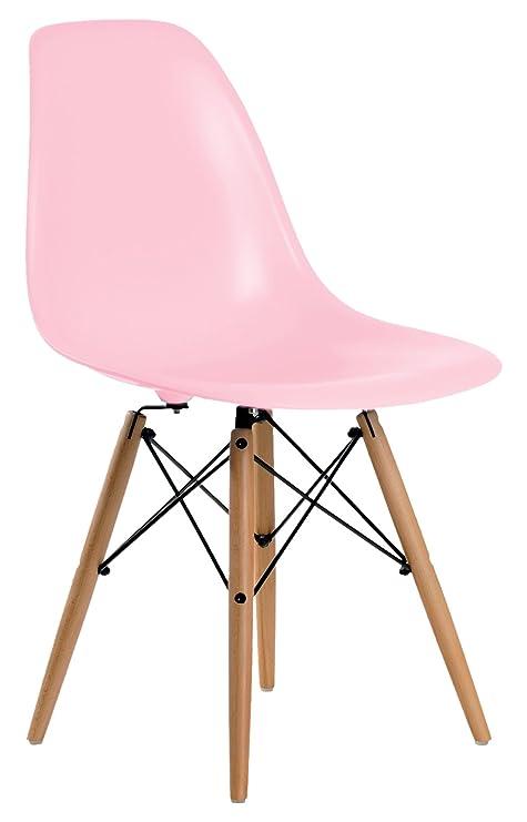 Aryana Home (ARYA6) Eames Réplica Set de sillas, Haya, Rosa ...