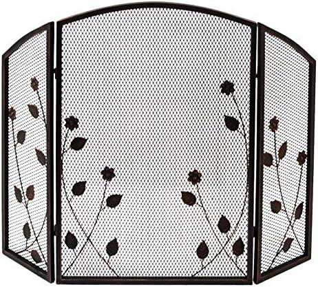 暖炉用品・アクセサリ 錬鉄3パネル暖炉スクリーン、葉の装飾スパークガードメッシュ、木材バーナー/コンロ/ガス火災のためのベビー安全なメタルフレイムエンバーフェンス (Color : Bronze)