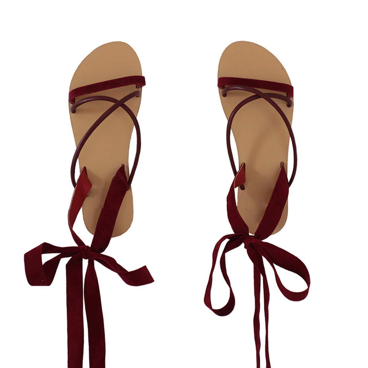 KPHY-Weiße Horizontale Balken Weiße Schuhe Zehen Rom Flache Schuhe Damenschuhe.
