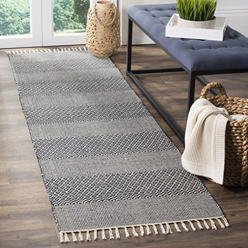 Safavieh Montauk Collection MTK330B Handmade Flatweave Ivory and Navy Cotton Runner (2'3
