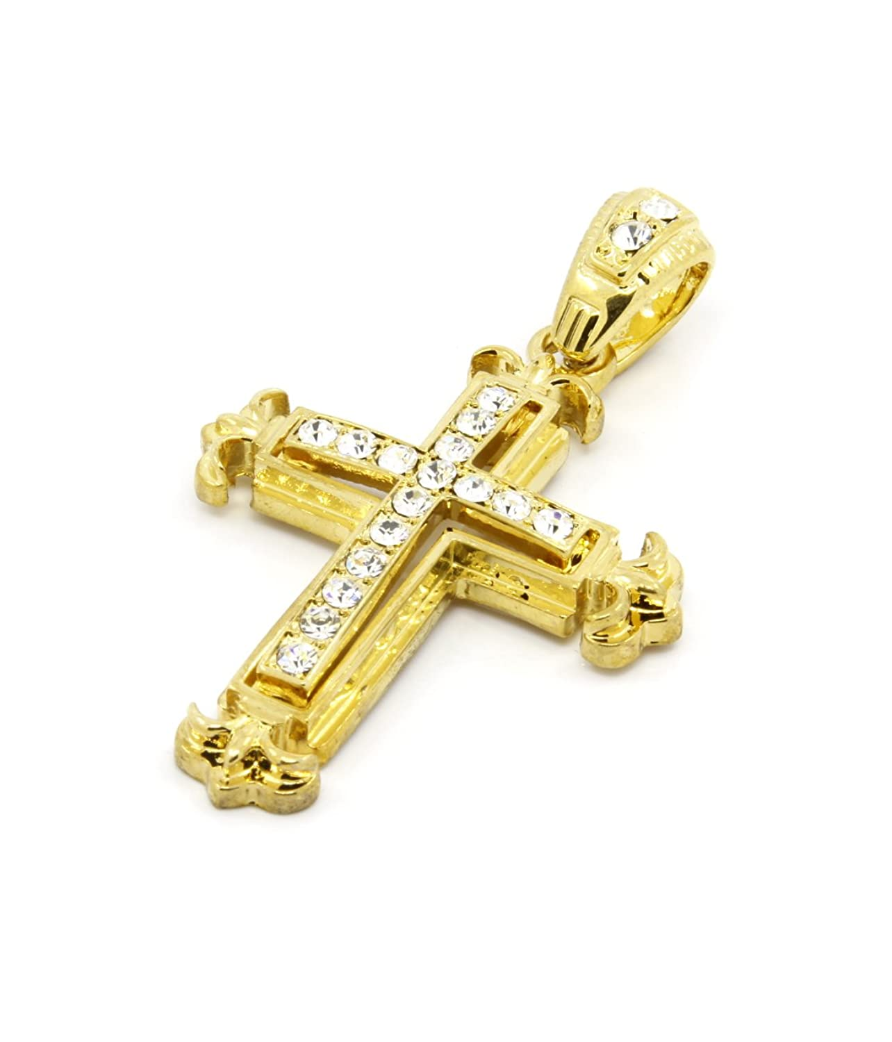 "Gold Iced Out Cz Sharp Sides Cross Pendant Hip hop 24"" Inch Cuban"
