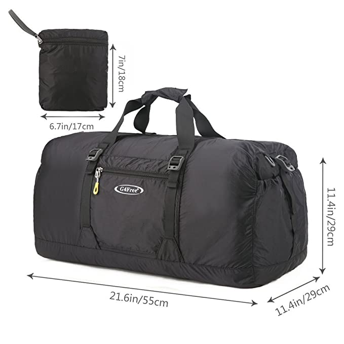 05d4963ab6ed G4Free 45L Water Resistant Foldable Gym Bag Lightweight Travel Duffel Bag  for Women Ladies and Men  Amazon.co.uk  Sports   Outdoors