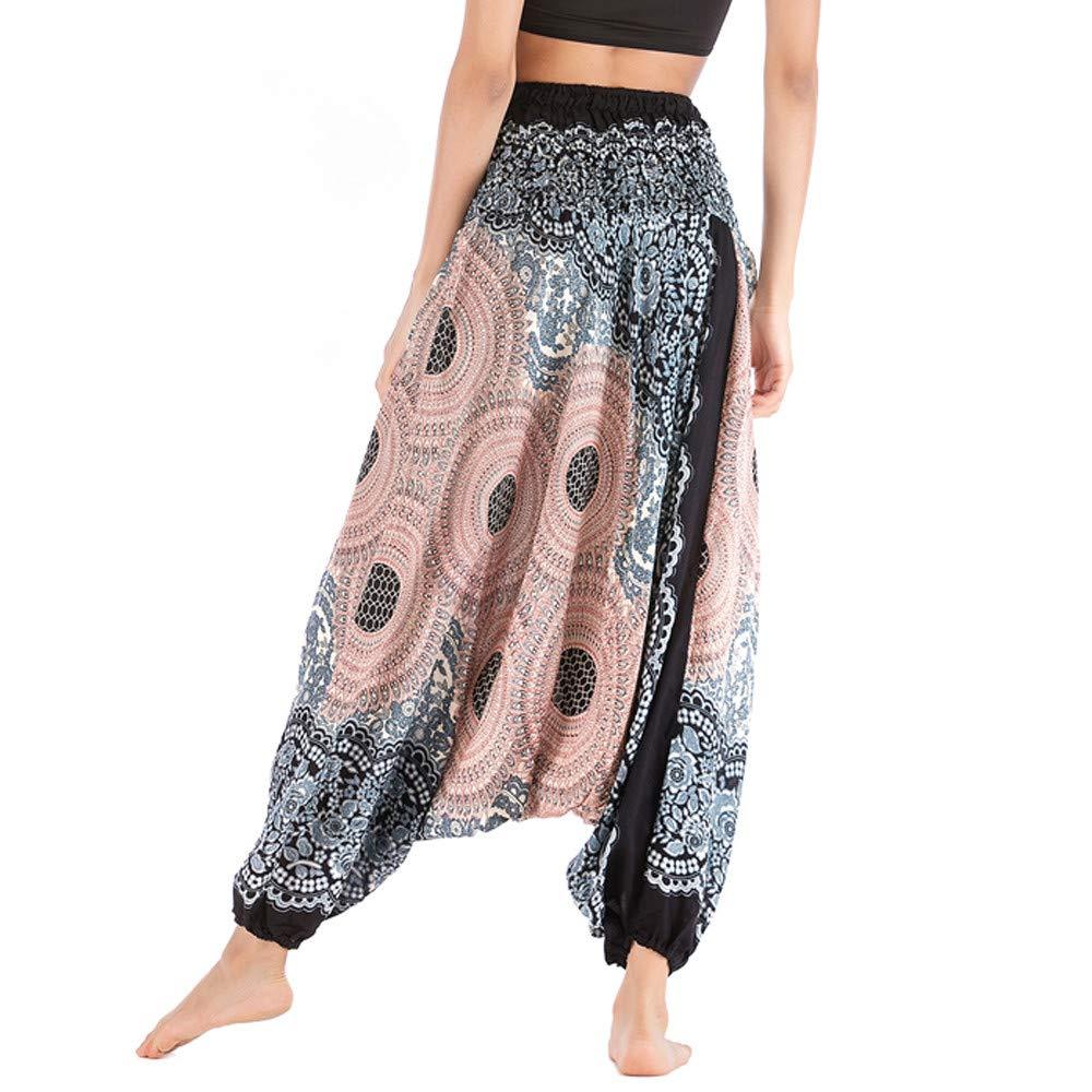Harem Pants Women's Hippie Bohemian Yoga Pants One Size Aladdin Harem Hippie Pants Jumpsuit Smocked Waist 2 in 1 (Free, White) by BingYELH Yoga (Image #5)