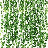 Artificial Ivy Leaf Garland Plants,82 Ft-12 Pack Vine Hanging Wedding Garland Fake Foliage Flowers Garden Outdoor Greenery Home Kitchen Office Wedding Party Wall Decor