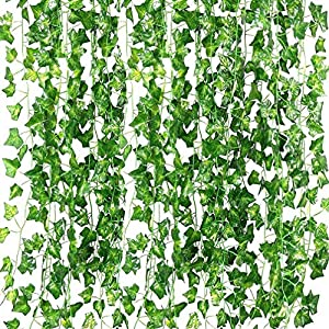 Artificial Ivy Leaf Garland Plants,82 Ft-12 Pack Vine Hanging Wedding Garland Fake Foliage Flowers for Garden Outdoor Greenery Home Kitchen Office Wedding Party Wall Decor 1