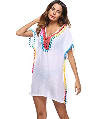 c563f076b1 Robe de Plage Femme Boheme Courte Tunique Tenue Caftan de Plage Col en V  Maillot de Bain Bikini Cover Up Kaftan Sortie de Plage Chemise Pareo Robes  de ...
