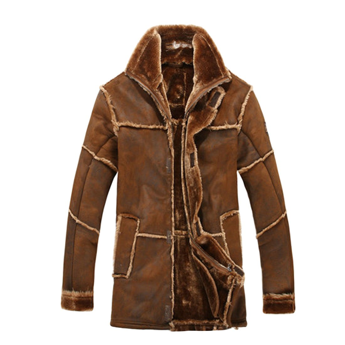 UUYUK Men Plus Size Winter Thick Faux Fur Lined Warm Hoodie Mountain Parka Coats