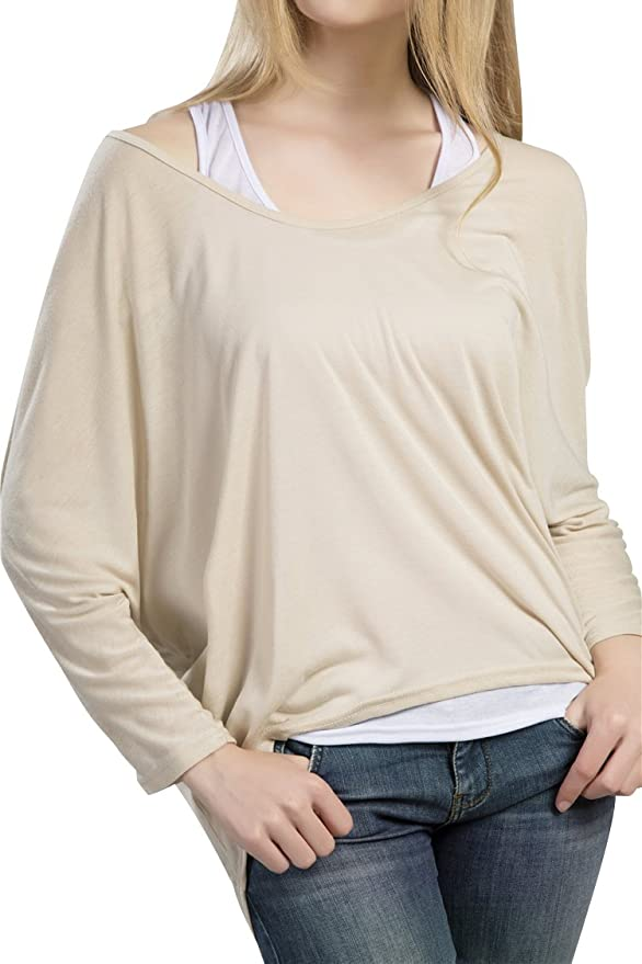 Oryer Womens Casual Oversized Baggy Off Shoulder Shirts Batwing Sleeve  Loose Pullover Tops at Amazon Women's Clothing store: