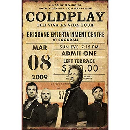 HiSign Coldplay The Viva La Vida Tour Retro Cartel de Chapa ...