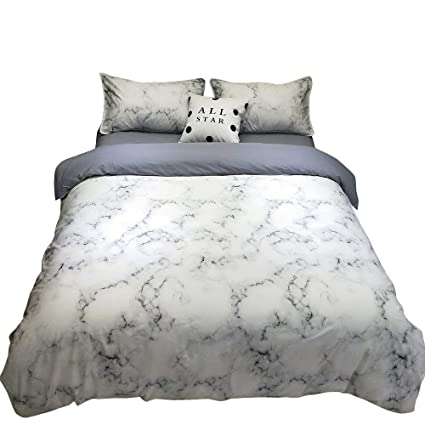 vclife twin marble duvet cover sets modern bedding sets for kids boys girls reversible white - Modern Bedding Sets