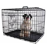 PROSPERLY U.S. Product 42'' 2 Doors Wire Folding Pet Crate Dog Cat Cage Suitcase Kennel Playpen w/ Tray