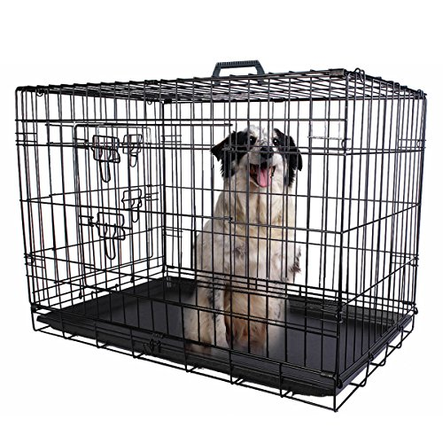 PROSPERLY U.S. Product 42'' 2 Doors Wire Folding Pet Crate Dog Cat Cage Suitcase Kennel Playpen w/ - At Stores Somerset