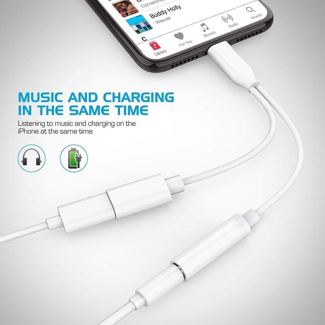 Adattatore jack per cuffie per iPhone 8 Adattatore 3,5 mm Aux Audio Stereo Cuffie Splitter per iPhone X//XS//XR//7//7Plus//8//8Plus Ricarica Connettore per cuffie Supporto iOS 12(Bianco)
