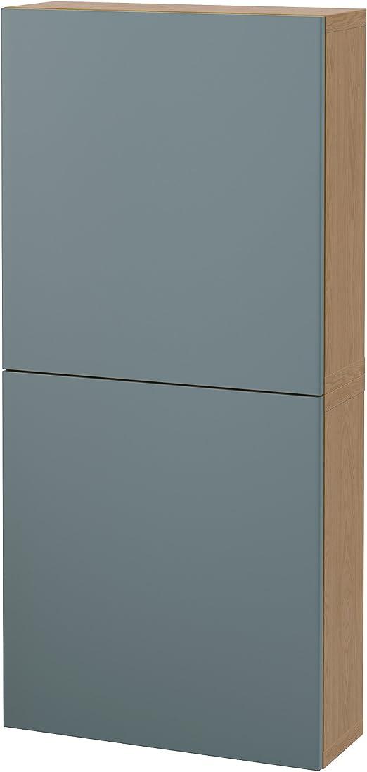 IKEA BESTA – Armario de pared con 2 puertas de madera de roble ...