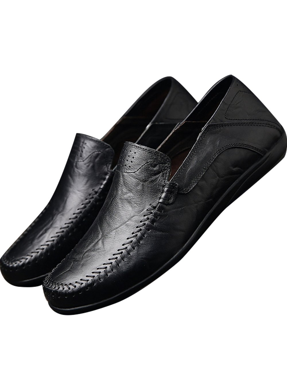 Menschwear Men's Genuine Leather Casual Loafers Shoes Slip-On Skate Shoes 8.5 M US|Black-tx8008