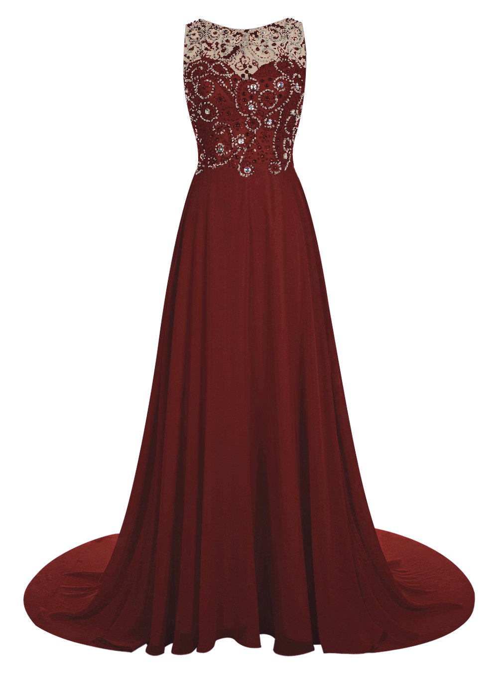 Wedtrend Women's Long Prom Dress With Shining Rhinestones and Train 11067Burgundy 8