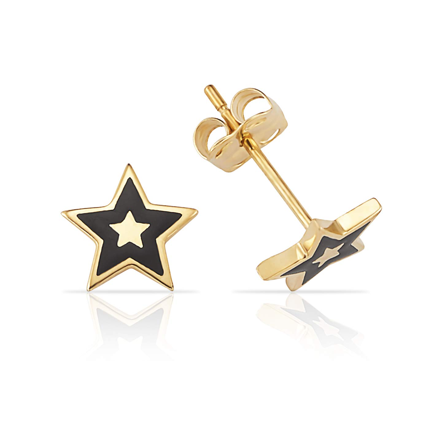Solid Star Black Epoxy Stud Earrings in 14K Yellow Gold Jewel Connection OC202529