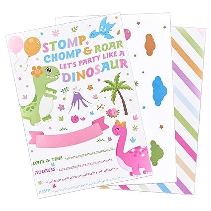 WERNNSAI Dinosaurio Invitaciones de Fiesta con Sobres - Dino ...