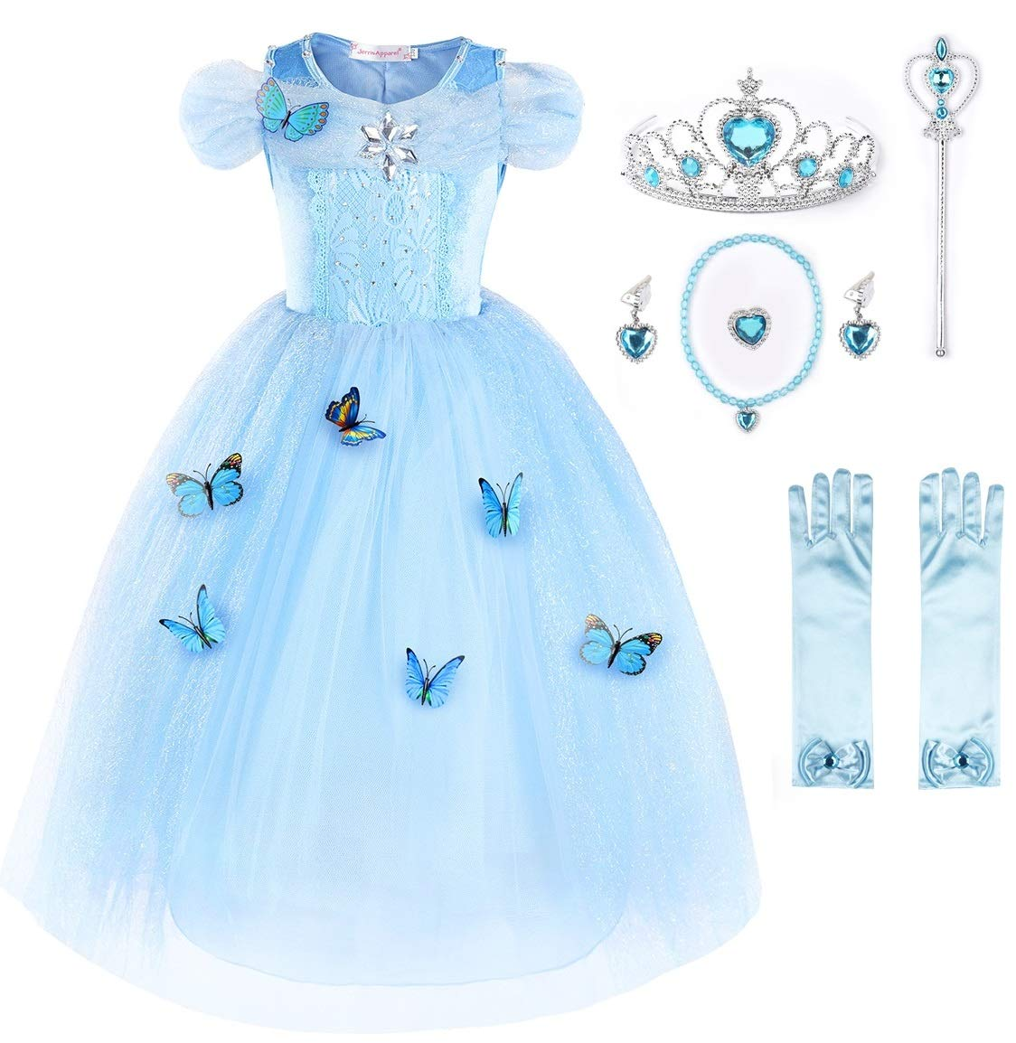 JerrisApparel New Cinderella Dress Princess Costume Butterfly Girl (3 Years, Sky Blue with Accessories) by JerrisApparel