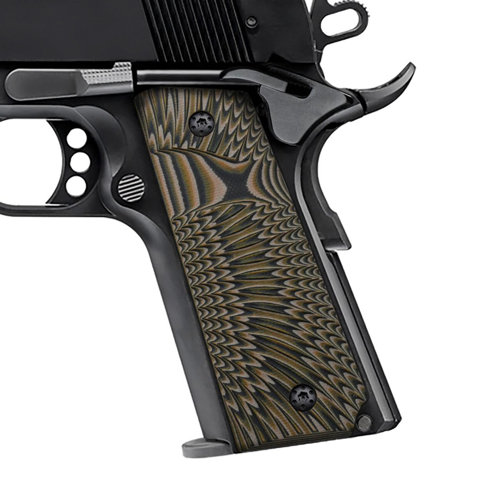 Cool Hand 1911 Full Size G10 Slim Grips, 3/16'' Thin, Big Scoop, Ambi Safety Cut, Sunburst Texture, Brand,Coyote Color HH1S-J6S-24 by Cool Hand