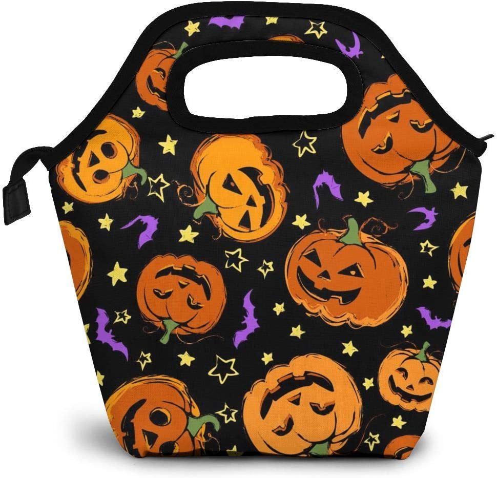 Reusable Lunch Bag, Halloween Pumpkin Lunch Bag Picnic Office Outdoor Thermal Carrying Gourmet Lunchbox Small Bat Lunch Tote Container Tote Cooler Warm Pouch For Men,Women