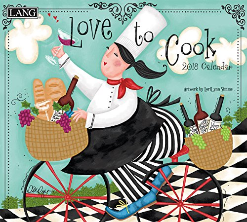 "LANG - 2018 Wall Calendar - ""Love To Cook"", Artwork by Lorilynn Simms - 12 Month - Open 13 3/8"" X 24"""