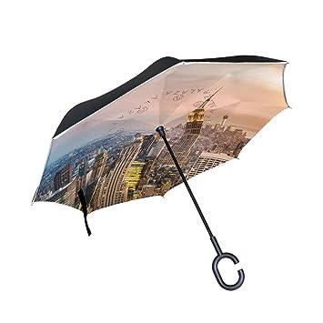 jstel doble capa puede Ciudad de Nueva York rascacielos Sunset paraguas coches Reverse resistente al viento