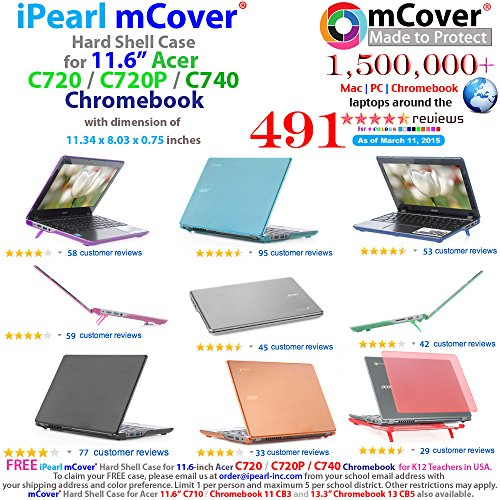 Black iPearl mCover Hard Shell Case for 11.6'' Acer C720 C720P C740 series ChromeBook Laptop (NOT compatible with NEWER 11.6'' Acer Chromebook 11 C730 / CB3-111 / CB3-131 series laptop) by mCover (Image #1)